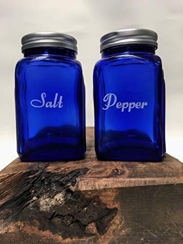 Cobalt Blue Glass Simple White Script Salt and Pepper Shaker SET - Vintage Arched ()