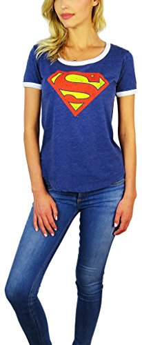 Comics Sheer T-shirt (DC Comics Womens Superman Burnout Ringer Tee (Medium, Navy))