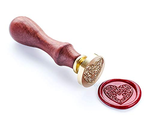 (VOOSEYHOME The Heart Wax Seal Stamp with Rosewood Handle, Decorating on Invitations, Envelope Sealers, Letters, Posters, Gift Packings for Birthday, Themed Parties, Weddings, Signatures etc)