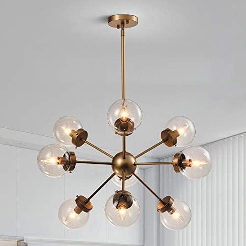 Maxax Sputnik Chandelier 9 Lights Gold Brushed Brass Modern Pendant Lighting Glass Vintage Ceiling Light Fixture