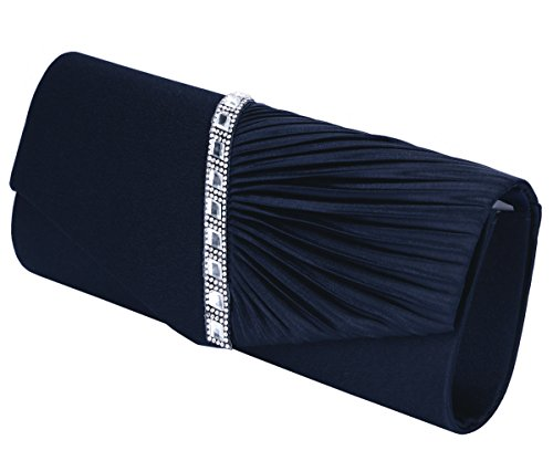 Charming Tailor Evening Handbag Crystal Embellished and Pleated Satin Clutch (Navy Blue)