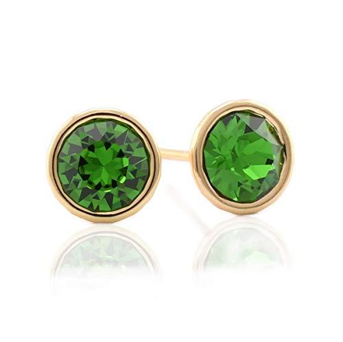 (Stud Earrings Swarovski CZ Cubic Zirconia 18K Gold Plated Hypoallergenic Earrings for Sensitive Ears - model Stud Brilliant (Fern green))