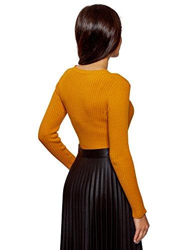Costine oodji Donna 5200n Aderente a Arancione Lavorato Ultra Maglione r1YwSqa1