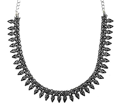 d Silver Plated Kolhapuri Choker Indian Necklace Jewelry for Girls and Women ()