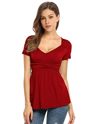 Yesfashion Womens V Square Neck Ruched Tops Empire Waist Tunics Short Sleeve Red L