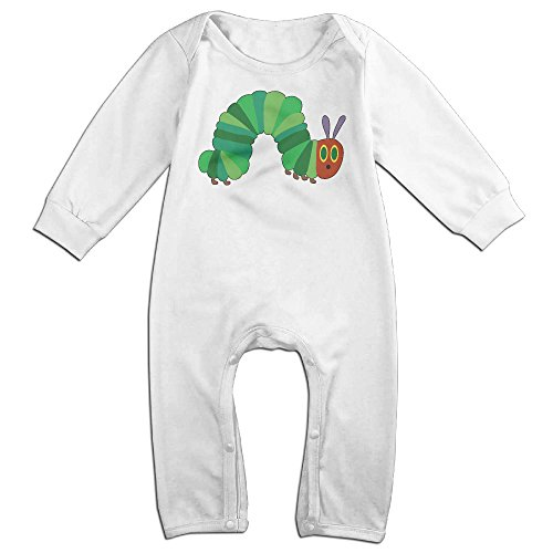 Baby Boys Girls He Very Hungry Caterpillar Long Sleeve One-piece Baby Bodysuit Baby Clothes Bodysuit Romper White
