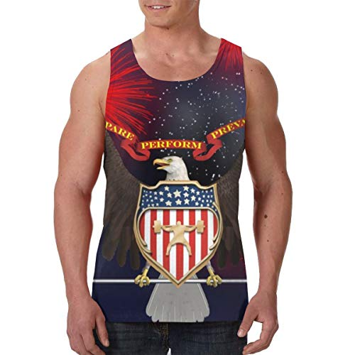 FANTASY SPACE Summer Mens Vest Undershirts Crewneck Bald Eagle Barbell American Flag USA Patriotic Sleeveless Vests for Golf Gym Holiday, Basic Slimming Sportswear Chest Compression Sweat Shirt