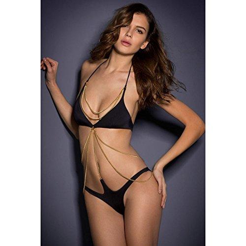 X&L Mode, Körper, Dreieck, sexy, schwarze Kette, dekorativ, Bikini, tiefen v-Ausschnitt, Verführung, wild, durchbohrt, Bademode