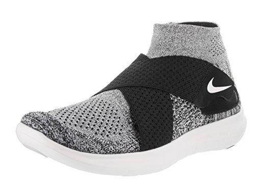 NIKE Men's Free RN Motion Flyknit 2017 Running Shoe (Size. 13) Black/White-Pure Platinum-Wolf Grey