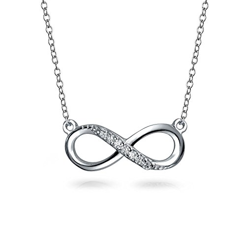 Half Round Rolo - infinity Knot Love Motif Pendant Necklace Station Style Half Pave CZ 925 Silver 16 Inch Chain
