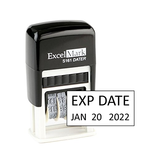 Expiration Date - ExcelMark Self-Inking Rubber Date Stamp - Compact Size - Black Ink