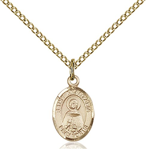 Patron Saints by Bliss 14K Gold Filled Saint Anastasia Petite Charm Medal, 1/2 Inch
