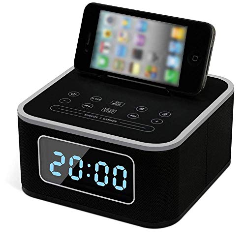 (Qkefegfkgr Docking Station Wireless Bluetooth Speaker Double Alarm FM Radio with Remote Control Charging Station USB Charging Handsfree Snooze-White; (Color : Schwarz, Size : -))