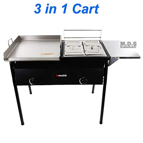 Ematik Taco Cart with Griddle 18x16 Stainless Steel, Double Deep Fryer, 2 Deep Trays & Stove All 3 in 1