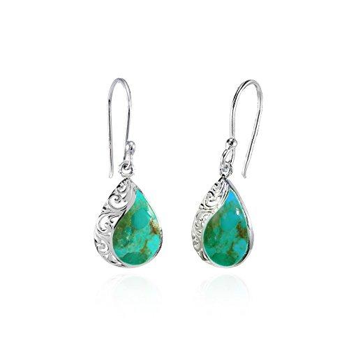 lated Turquoise Polished Filigree Teardrop Dangle Earrings ()