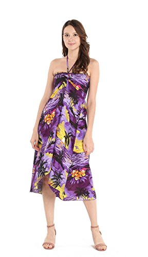 Hawaii Hangover Women's Hawaiian Butterfly Luau Dress in Sunset Purple XL -