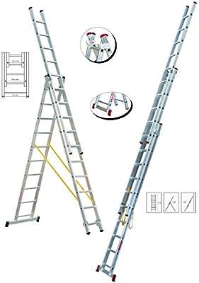 ESCALERA DE ALUMINIO TRANSFORMABLE DE 3 TRAMOS 7+7+7 PELDAÑOS - MODELO ABG21: Amazon.es: Bricolaje y herramientas