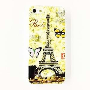 MOFY-Retro Torre Eiffel en Par's del patr—n de mariposa duro caso para iPhone 5/5S de policarbonato , Multicolor