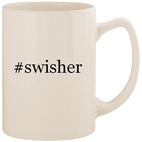 #swisher - White Hashtag 14oz Ceramic Statesman Coffee Mug Cup