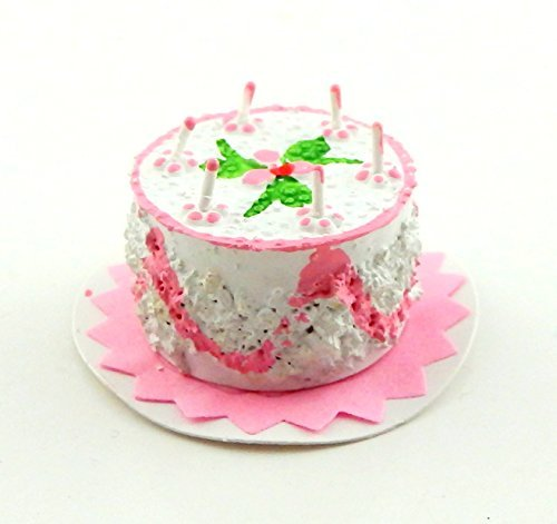 - Dolls House Miniature Party Accessory 1:12 Scale Pink Birthday Cake & Candles