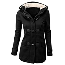 Female Hooded Coat - SODIAL(R) Women's Spring Autumn Trench Coat Long Overcoat Female Hooded Coat Zipper Horn Button Outwear£¨black,4XL/US-16)