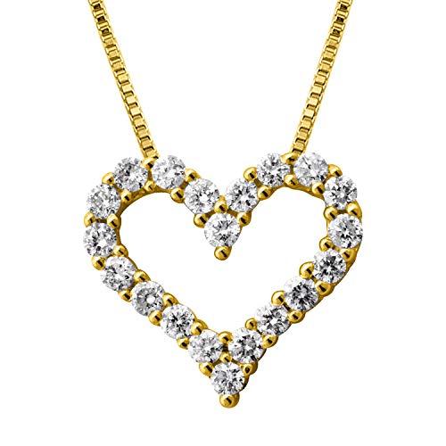 14k Yellow Gold Heart Diamond Pendant Necklace (1/4 Carat) - IGI (Yellow Diamond Heart)