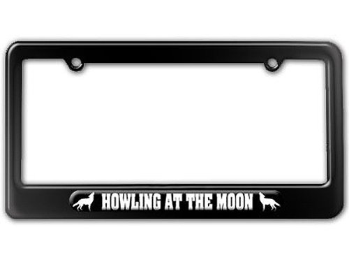 Howling Wolf Plate - Wolf Howling At The Moon License Plate Tag Frame - Color Gloss Black