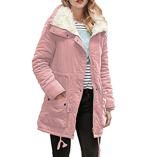 ANJUNIE Warm Long Coat for Womens Hooded Jacket Slim Winter Parka Outwear Coats(Pink,2XL)