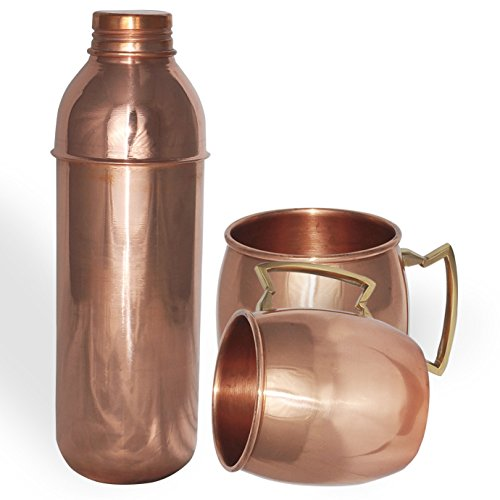 DakshCraft High Quality Pure Copper Thermos Bottle with 2 Pure Copper Moscow Mule Mug Sets