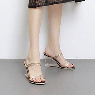 LvYuan Mujer Sandalias Goma Verano Tacón de Cristal Tacón Cuña Blanco Negro 7'5 - 9'5 cms Black