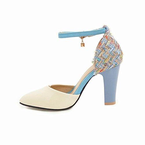 Carolbar Mujer's Tobillo-correa Elegance En Punta De Tacón Alto Sandalias De Vestir Azul