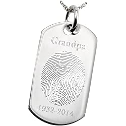 Fingerprint Memorial Jewelry: Sterling Silver Dog Tag-Oval Outline