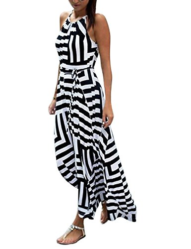 ORANDESIGNE Women's Sexy Summer Striped Sleeveless O Neck Elegant Evening Party Beach Maxi Long White Dress A Black US (Black And White Stripe Dress)
