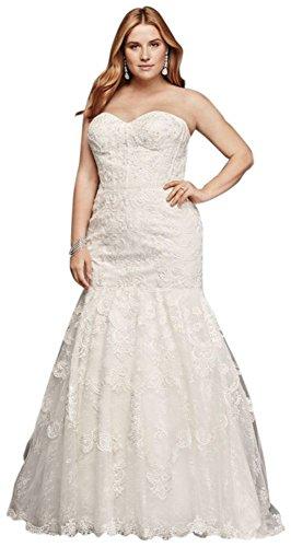 Corset Bodice Mermaid Lace Plus Size Wedding Dress Style 9SWG755, Ivory, 22W