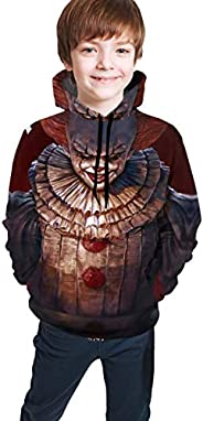 LGZNFQ Clown Chucky and Pennywise Youth Boys Girls 3D Print Pullover Hoodies Hooded Seatshirts Sweaters