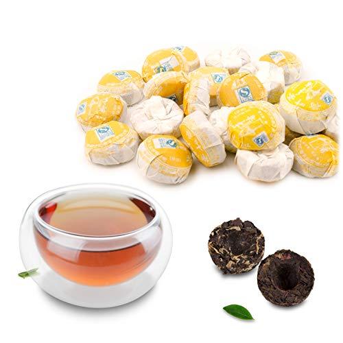 Prettyard 5PCs (Lotus Leaf Flavor) Cooked Ripe Puerh Mini Tea Cakes Shu Tuocha Puer Small Black Tea Balls (Approx. 3-5g…