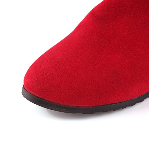 Womens B US M Kitten Out Heels Solid AmoonyFashion Red Round Hollow 3 with PU Boots Toe Frosted Closed dTdZqC