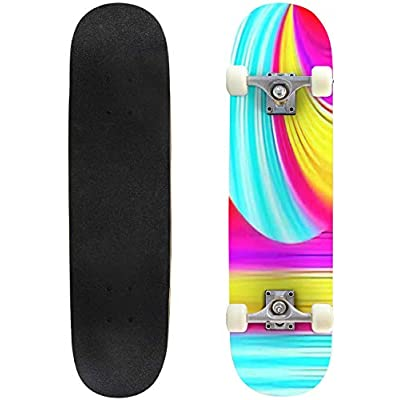 Classic Concave Skateboard Abstract Blurred Stripes Vibrant Colored Psychedelic XXL Background Longboard Maple Deck Extreme Sports and Outdoors Double Kick Trick for Beginners and Professionals : Sports & Outdoors