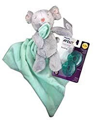 Baby Gift Bundle - 2 Items: Carter's Mouse Snuggle Buddy and Philips Avent Soothie (2-pack) Pacifiers