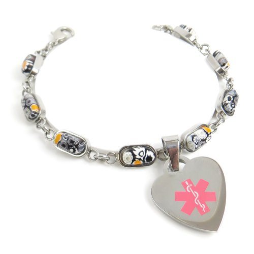MyIDDr - Pre-Engraved & Customized Taking Coumadin Charm Medical Bracelet, Black/White Millefiori Glass, Pink