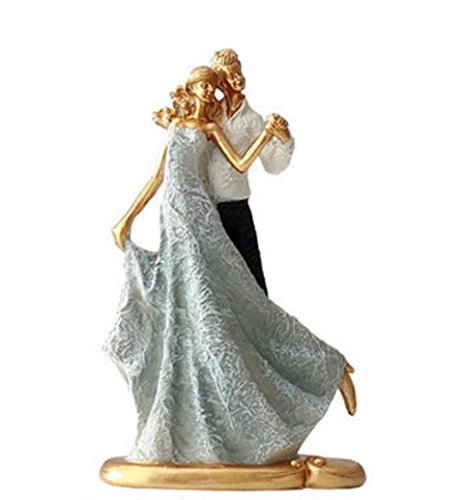 YUKII Wedding Couple in Dancing Position Statue Figurine Home Decor Display Great gift (water blue)