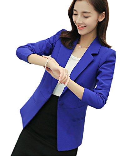 JOTHIN Femme Chic Blazer Veste de Tailleur Slim OL Manche Longue Blouse lgant Jacket Automne Manteau Col V Costume D'Affaires Bleu