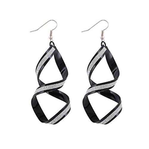 Clearance! Elogoog Jewelry 1Pair Fashion Women Matte Cross Dangle Gold Loop Earings (Black)
