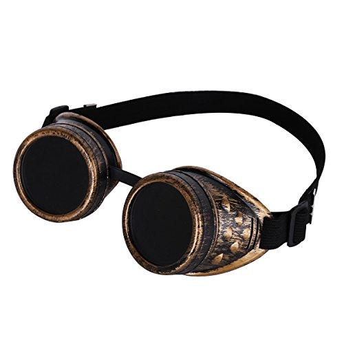 Brass Cosplay de Gótico Rústico gafas Steampunk soldadura Baño gafas Sol Redondo Rave Vintage Victorian Goth Cyber De v7qCaz