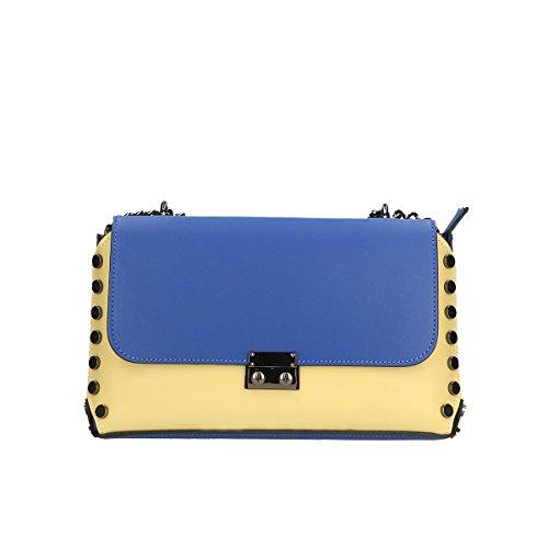 Chicca Borse Genuine Leather Strap 27x16x5 Cm Blue