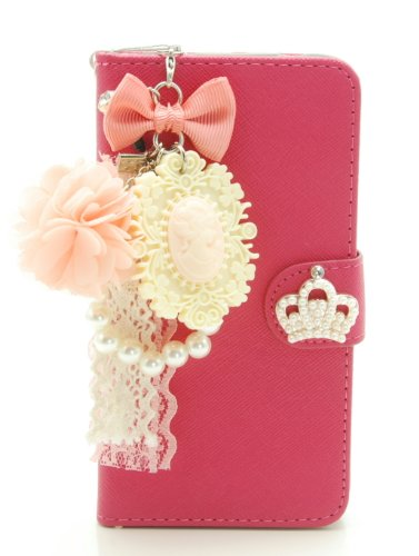 ZZYBIA® S5 TCV Leatherette Stand Case Card Holder Wallet with a Romantic Victorian Dust Plug Charm for Samsung Galaxy S5 I9600 (Shocking Pink)