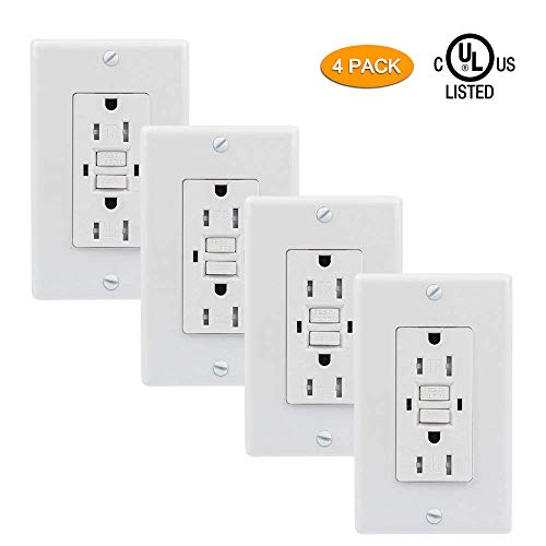 Upgraded GFCI Outlet, SZICT UL-listed 15A Dual Indicator Self Test GFCI Tamper Resistant Outlet, GFCI Outlet with 2 Wall Plates Included 1 Screwless Plate for Ground Fault Circuit Interrupter[4 Pack] -