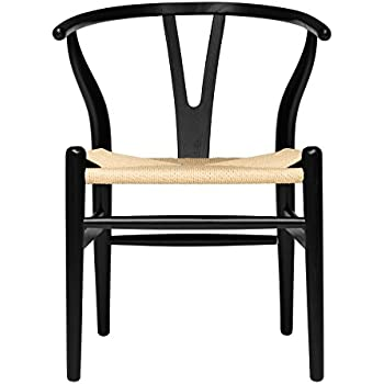 Hans Wegner Wishbone Style Woven Seat Chair (Black With Natural Cord)