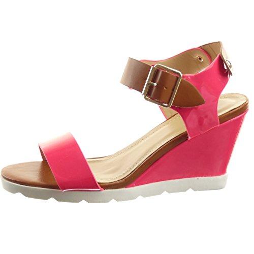 Sopily - Scarpe da Moda sandali Aperto Zeppe alla caviglia donna lucide fibbia borchiati Tacco zeppa piattaforma 8 CM - Nero