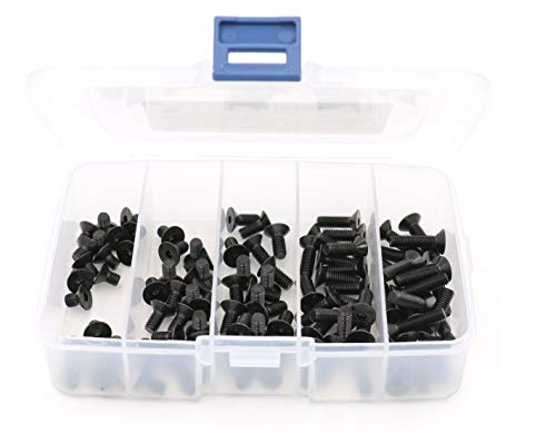 iExcell 100 Pcs M5 x 8mm / 10mm / 12mm / 16mm / 20mm 10.9 Grade Alloy Steel Hex Socket Drives Flat Head Cap Screws Assortment, Black Oxide Finish